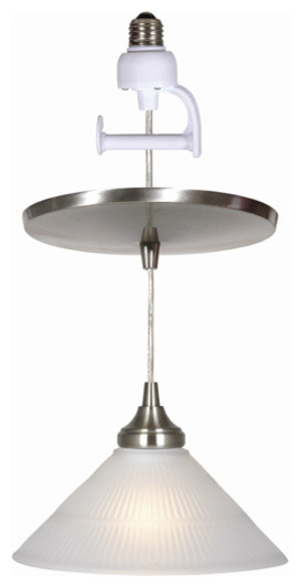 Ribbed pyramid glass shade with universal lampcup in brush nickel finish. traditional-pendant-lighting