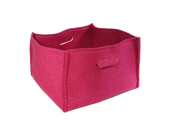 Large Storage Basket with Handles - Storage is anything but staid and boring when done in bright pink. Use these soft felt boxes in kids' rooms, living areas or mudrooms to quickly put clutter in its place.