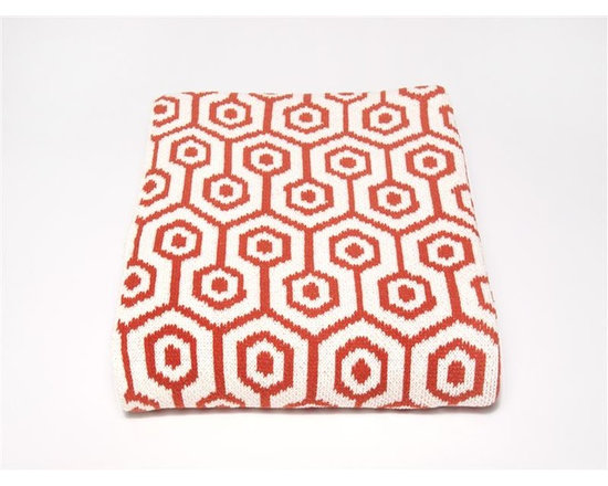 Eco Geo Spice Throw-Spice - TThis modern and supremely chic throw blanket will make a big impact in any room. With its geometric design and super soft feel, use this blanket on a chaise, bed or chair to add style and a touch of glam to your interior.