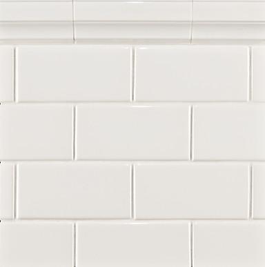 Glass vanity table set - Ceramic Basics Capriccio Tile White Gloss Traditional