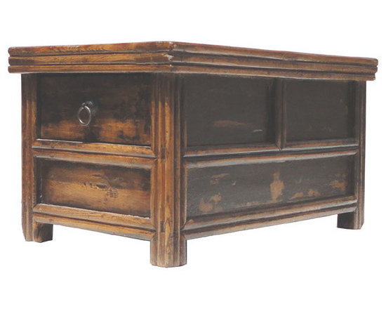 Chinese Antique Double Sides Drawers Access Altar Table Stand - Look at this Chinese antique lower table which is made of solid elm wood. It was used as small alter table, and those two drawers was stored incenses and altar stuffs.