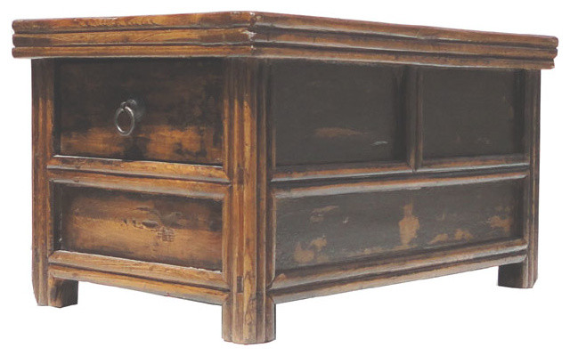 Chinese Antique Double Sides Drawers Access Altar Table Stand - Rustic - Side Tables And End ...