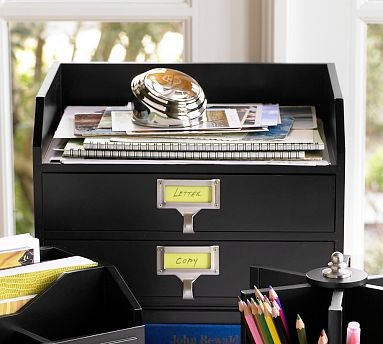 Bedford Two-Drawer Paper Organizer, Antique White - Traditional - Desk Accessories - by Pottery Barn