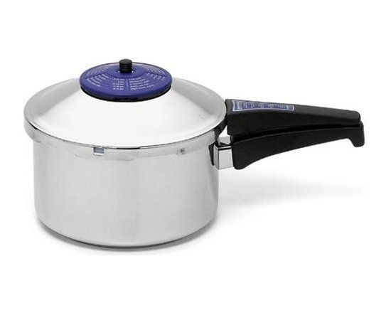 Kuhn Rikon - Kuhn Rikon Duromatic Anniversary 3.5-Quart Pressure Cooker - 50 years of making the world's greatest Pressure Cooker! To celebrate, Kuhn Rikon is offering a special cooker at a special price. The Anniversary cooker - a 3.5 liter model with long handle and trivet included. The steam diffuser is bright blue with cooking times of many popular dishes printed right on top.