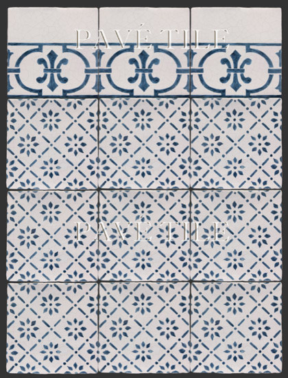 Blue and White Cuisine de Monet - 18th Century Tiles from Rouen traditional-tile