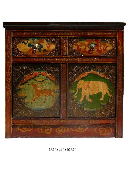 Tibetan Elephant Deer & Peony Flower Motif Solid Wood Altar Table / Cabinet - This Tibetan altar table is made of solid elm wood and hand painted with elephant, deer and peony flowers graphic. This is gorgeous altar table and you can also use it as a unique TV stand.