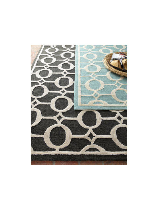 "Horchow - O-Link Rug, 5' x 7'6"" - An overall pattern of linked o-rings adds visual appeal to this versatile rug durable enough for high traffic areas indoors or out. Select color when ordering. Hand tufted of polypropylene/acrylic. UV stabilized. Size is approximate. Imported."