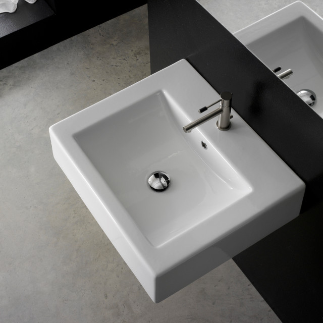 Square Wall Mounted Basin : Square Wall Mounted Ceramic Bathroom Sink contemporary-bathroom-sinks