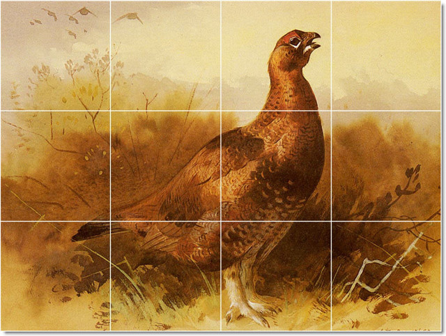 Cock Grouse Tile Mural By Archibald Thorburn traditional-tile