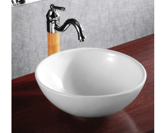 "Caracalla - Beautiful Circular White Ceramic Vessel Sink by Caracalla - Beautiful contemporary round white ceramic vessel sink designed in Italy by Caracalla. Sink has no faucet holes and comes without overflow. Sink dimensions: 15.35"" (width), 6.69"" (height), 15.35"" (depth)"