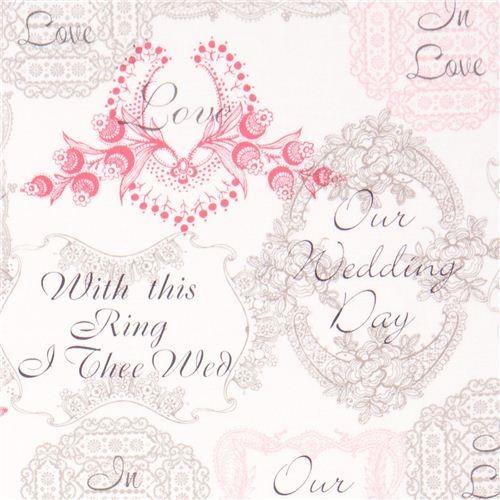 Michael Miller fabric Mr. & Mrs. wedding flowers fabric