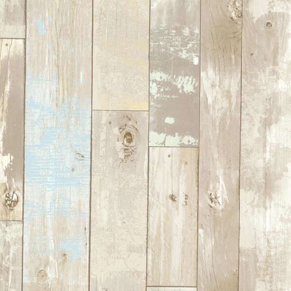 Dean Neutral Distressed Wood Panel Wallpaper Bolt