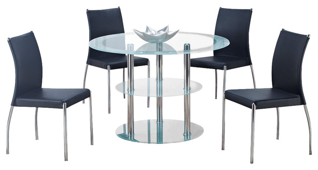 Global furniture usa 79dt 5 piece round frosted glass for Traditional black dining room sets