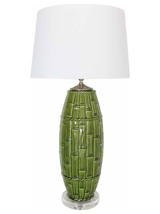 Ceramic Bamboo Motif Lamp - Unique Fully restored and re-wired 1950's Ceramic Lamp in a Bamboo Motif Pattern. Tall and High Quality. New Nickel hardware, socket, harp and finial included.