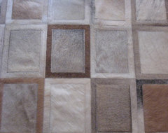 Cowhide Patchwork Rug in Rectangles - Creams, Greys, Beiges, White modern-rugs
