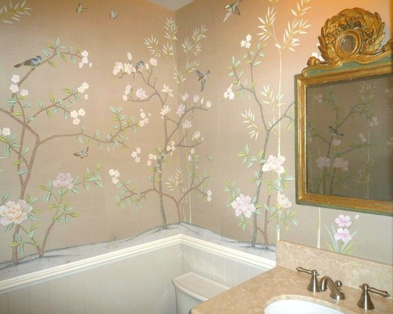 various projects and designs - Powder-room project designed to run above wainscoting in Vanncouver, BC.. As the design panels run above a sink, and to prevent any damage to the silk wallpaper, a light sealant has been applied to the hand-painted design work.