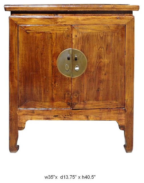 Rustic Style Brown Color Solid Elm Wood Side Table / Cabinet eclectic-buffets-and-sideboards