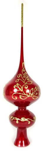 Traditional Glass Christmas Tree Ornaments : Quot lyrics red glass christmas tree topper traditional