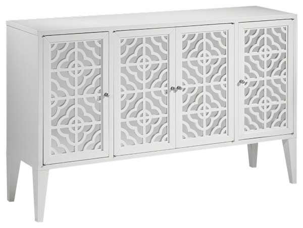 Lacquered White Mirrored Credenza Traditional Buffets