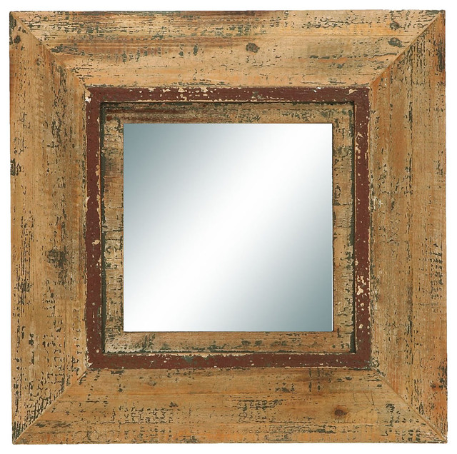 Looking Glass Style Mirror With Old Look Square Frame traditional-mirrors
