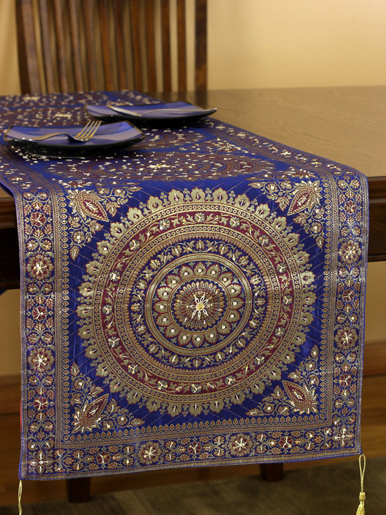 """Elegant Table Runners - """"Oriental Dabka"""" table runner design. Made in India. Dazzling Golden King Blue color. Elegant complement to any room."""