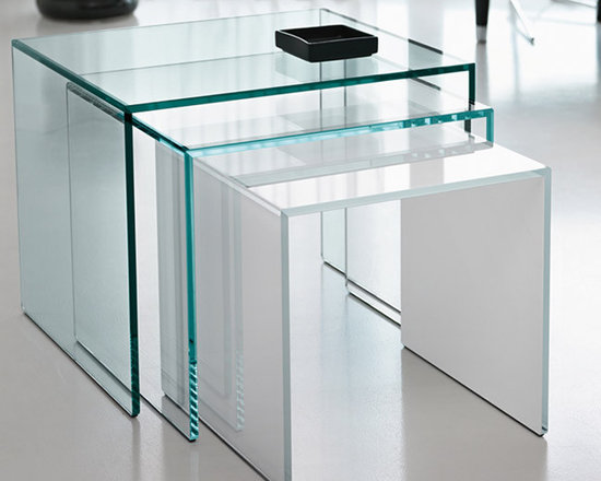 Trio Nesting Tables - Stocked in clear glass. Free Delivery.