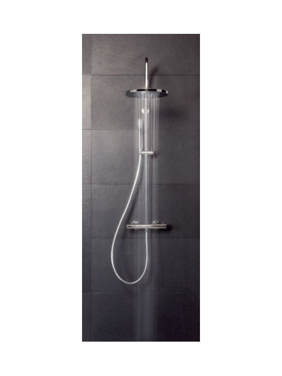 Saneux Rigid Riser with Fixed and Flexible shower - 18cm diameter shower head.