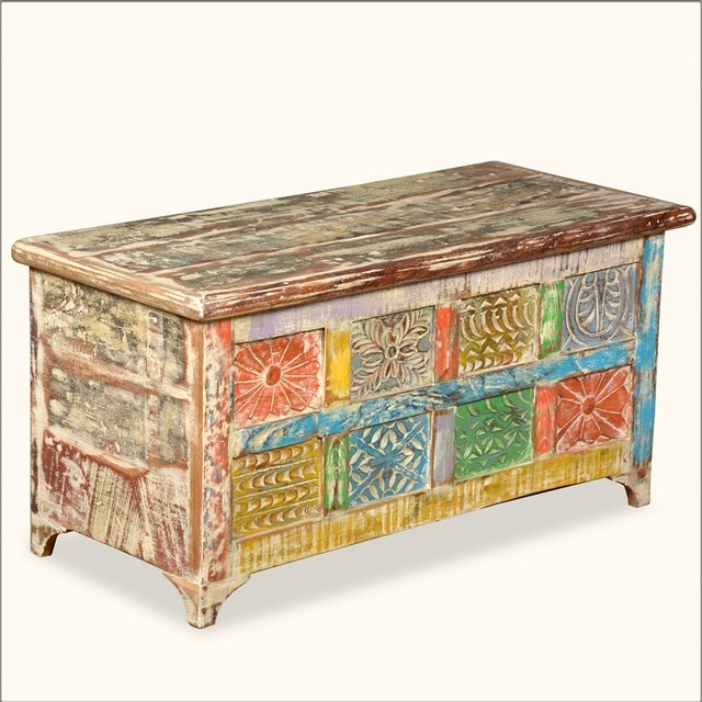 Eclectic Coffee Tables: Rustic Patchwork Reclaimed Wood Coffee Table Chest