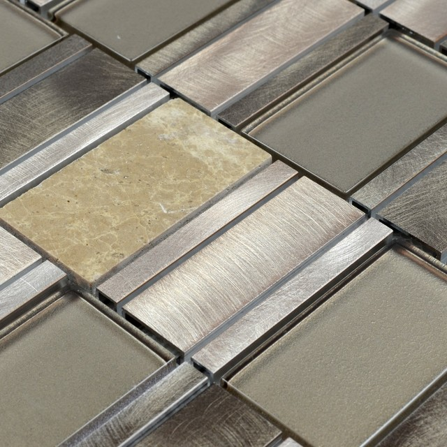 Metal Stone Glass Mosaic Tile, 1 Square Foot contemporary-mosaic-tile