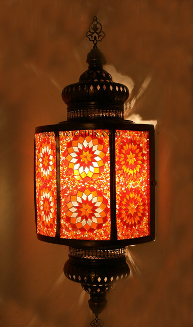 Red Turkish Style Mosaic Lighting Wall Sconce