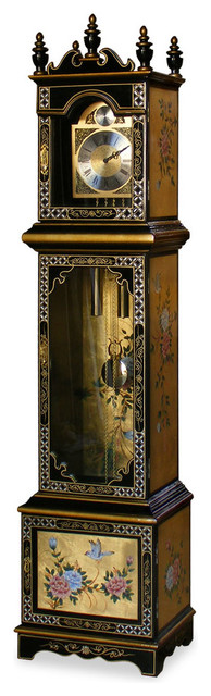 Hand Painted Gold Leaf Flower Motif Grandfather Clock ...