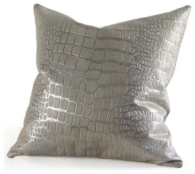Eclectic Pillows : Metallic Croc Embossed Pillow - Eclectic - Decorative Pillows - by Pfeifer Studio