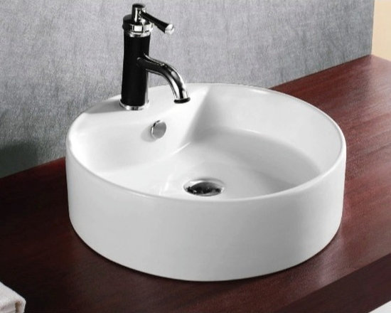 "Caracalla - Stylish Circular White Ceramic Vessel Bathroom Sink - This stylish modern above counter vessel sink is made of high quality white ceramic. The circular washbasin includes overflow and a single faucet hole. Designed in Italy by Caracalla. Sink dimensions: 18.50"" (width), 6.30"" (height), 18.50"" (depth)"