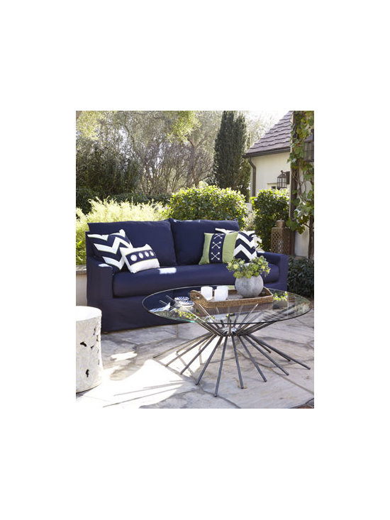 Horchow - Elena Outdoor Sofa - A perfect pairing of luxury and comfort, this outdoor sofa offers an updated transitional silhouette with clean lines, high arms, and a higher back to give the slipcover drape a more flexible look. Frame made of marine-grade hardwood. Solution-dyed a...
