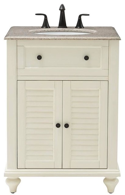 Hamilton 25 W Shutter Bathroom Vanity 35 Hx25 Wx22 D Distressed White Traditional