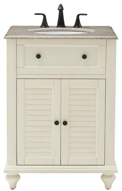 Hamilton 25 w shutter bathroom vanity 35 hx25 wx22 d distressed white traditional for Bathroom vanities hamilton