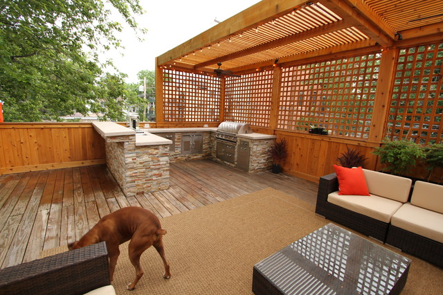 Outdoor kitchen and deck contemporary exterior for Outdoor kitchen deck plans