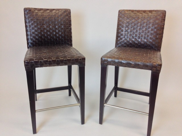 Pair Of Woven Leather Barstools Contemporary Bar