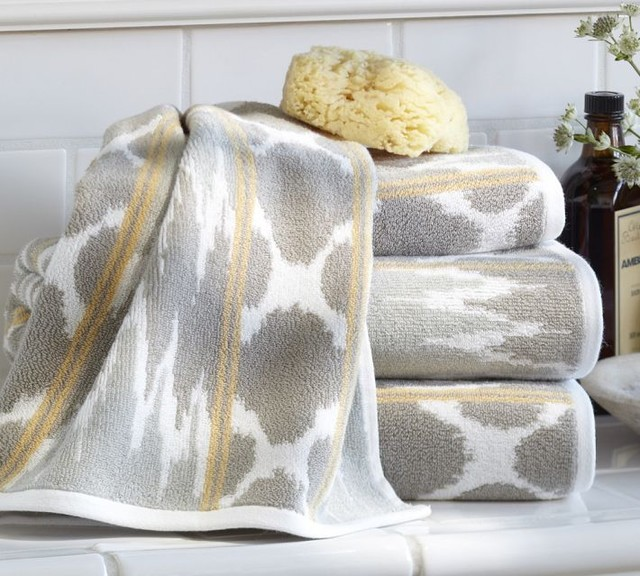 Dylan ikat jacquard bath towels contemporary bath