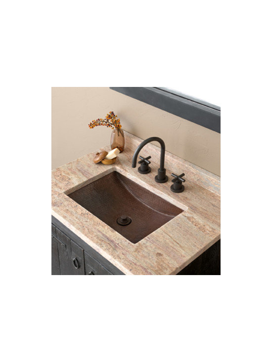 Avila Antique Copper Sink by Native Trails - Elegant in its design and sublime in its execution. Like a favorite gallery sculpture, Avila copper lavatory sink captivates - just look at how its ample rectangular shape and semi-circular sloped bowl generously display its hand-hammered texture. Available in either Antique copper or hand-dipped Brushed Nickel finish.