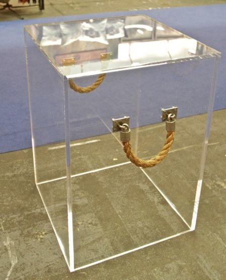 Lucite Cube With Rope, Tall