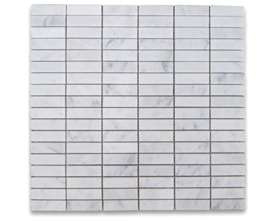 "Stone Center Corp - Carrara Marble Rectangular Stack Mosaic Tile 5/8x2 Honed Carrera - Carrara White Marble 5/8x2"" pieces mounted on 12x12"" sturdy mesh tile sheet"
