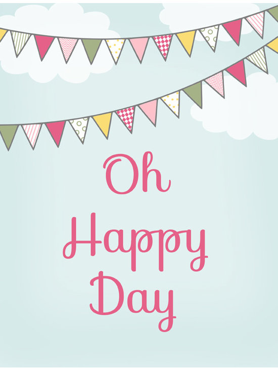 Nursery Art, Childrens Art - Oh Happy Day art print, features 2 bunting banners hanging among the clouds. Nursey art or childrens art.