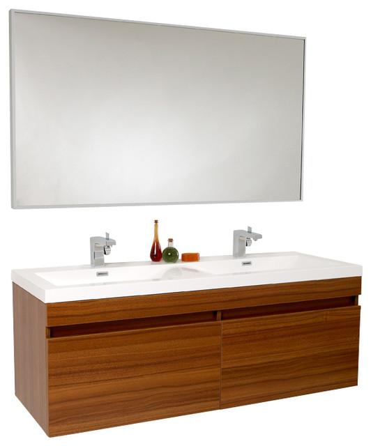 Fresca largo bathroom vanity teak modern bathroom for Decorplanet bathroom vanities