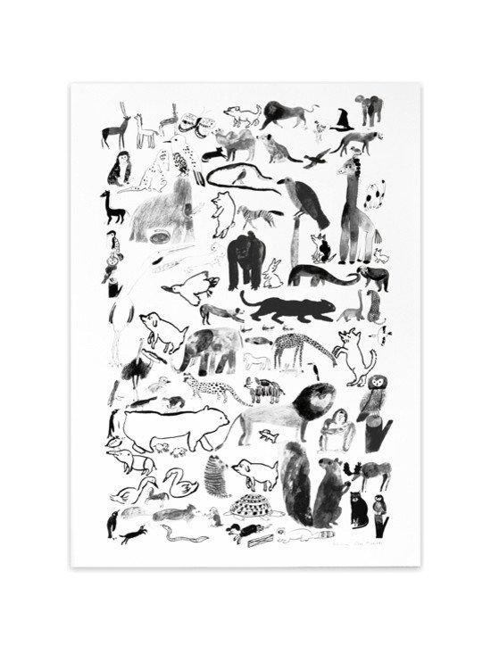 'Moo Moo Woof Woof' Poster, Black -
