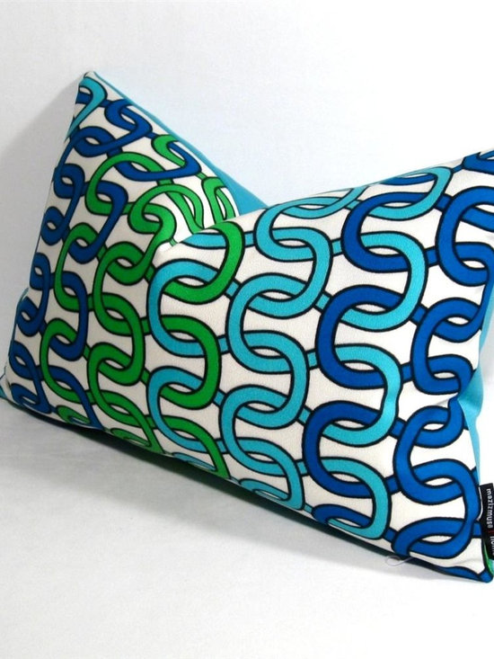 """Loop Outdoor Decor Cushion - Popular screen printed lumbar pillow with screen printed motif designed by Interior Designs hottest textile designer, Trina Turk. Loops of turquoise, cobalt blue and lime green are printed on solution dyed acrylic twill for superior color fastness and long life! Reverse in turquoise """"Aruba"""" blue Sunbrella outdoor fabric - Not only stylish and on trend, but super easy to maintain! Fully finished inside with a reinforced, weather proof zippered closure."""