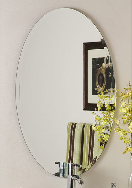 Helmer Oval Bevel Frameless Wall Mirror Contemporary Wall Mirrors By
