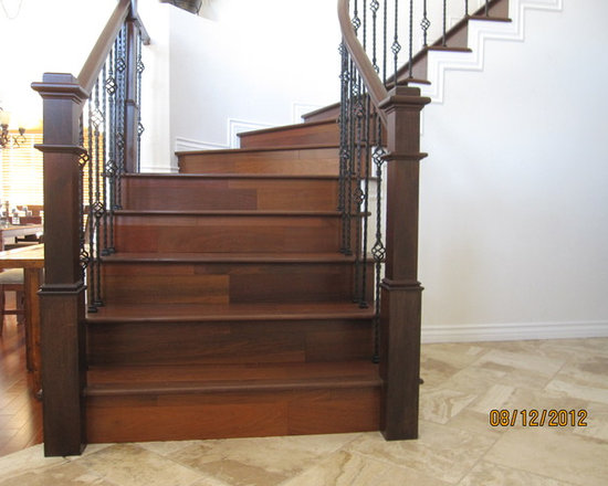 Brazilian Walnut staircase - Stairwell done with Terre Verte Brazilian Walnut (ipe) by simpleFLOORS