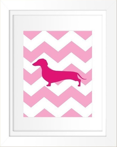 Customizable Chevron Weiner Dog Silhouette by Hirondelle Rustique contemporary artwork
