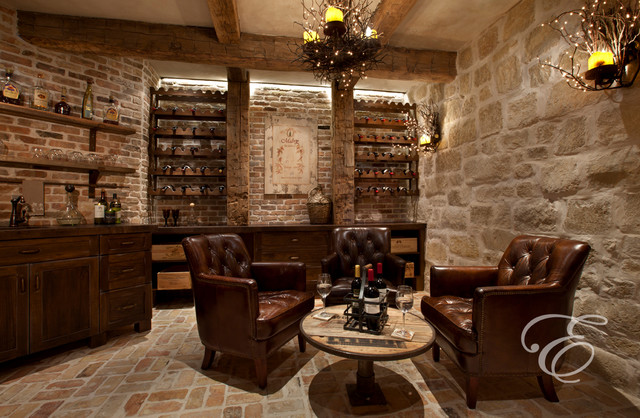 Tuscan Farmhouse Mediterranean Wine Cellar Houston
